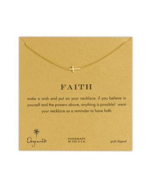 Dogeared | Metallic 'reminder - Faith' Sideways Cross Pendant Necklace | Lyst