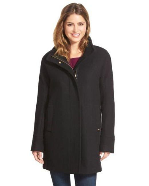 Ellen Tracy | Black Wool Blend Stadium Coat | Lyst