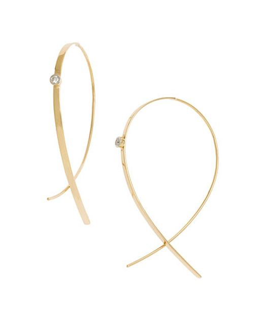 Lana Jewelry | Yellow 'small Upside Down' Diamond Hoop Earrings | Lyst