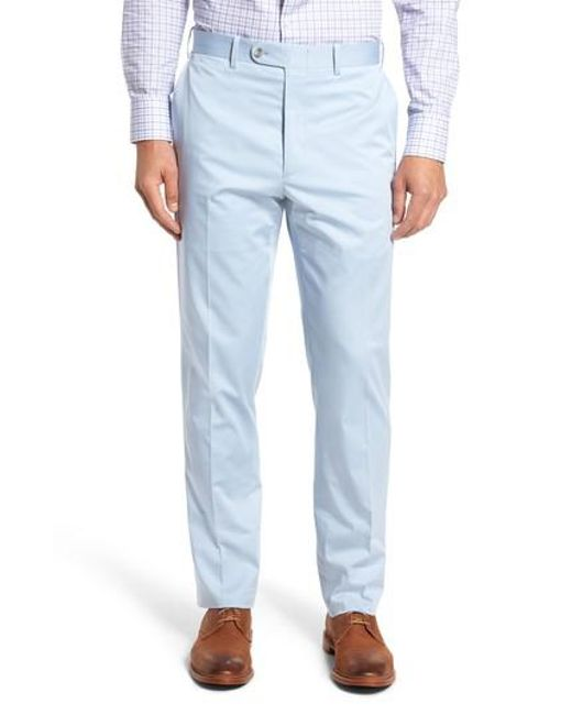 JB Britches | Blue Flat Front Solid Stretch Cotton Trousers for Men | Lyst