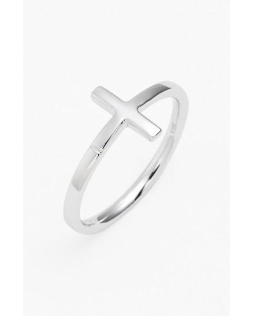 Bony Levy | White 14k Gold Cross Ring (nordstrom Exclusive) | Lyst