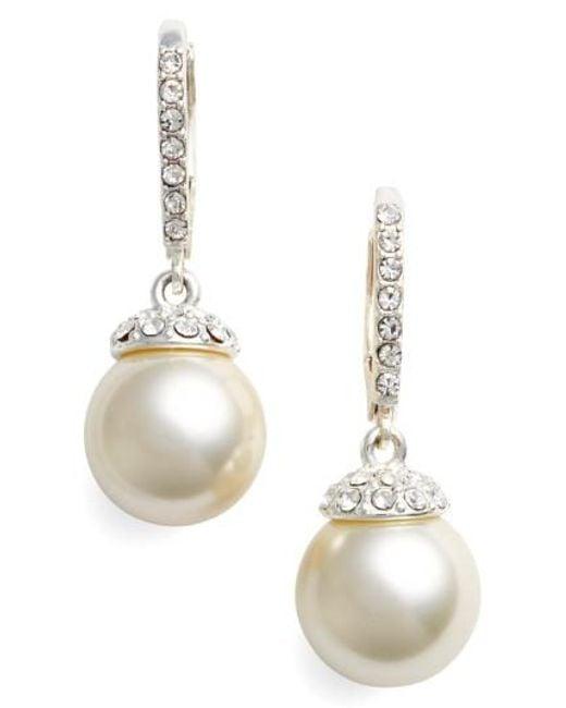 Givenchy Metallic Imitation Pearl Drop Earrings Lyst