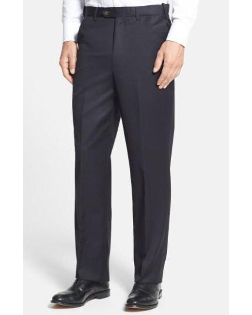Berle - Black Self Sizer Waist Flat Front Wool Gabardine Trousers for Men - Lyst