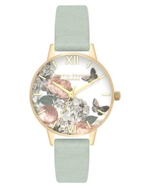 Olivia Burton - Metallic Signature Floral Leather Strap Watch - Lyst