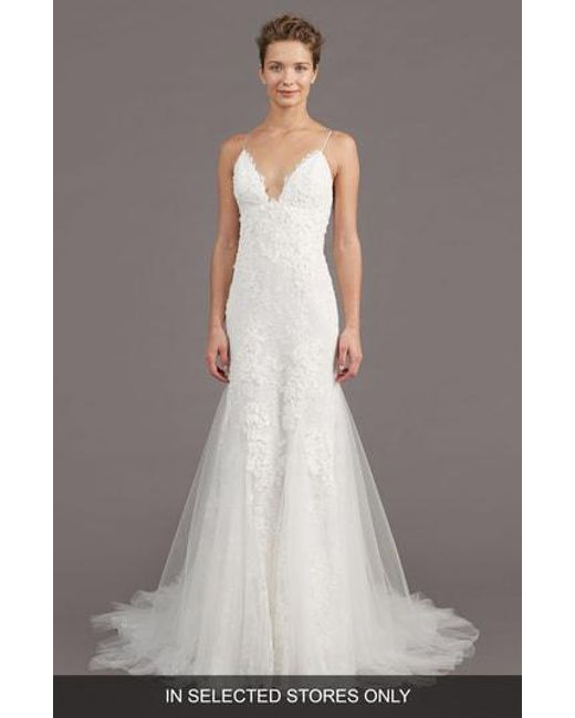 Amsale - White Kalel Stretch Silk Mermaid Gown - Lyst
