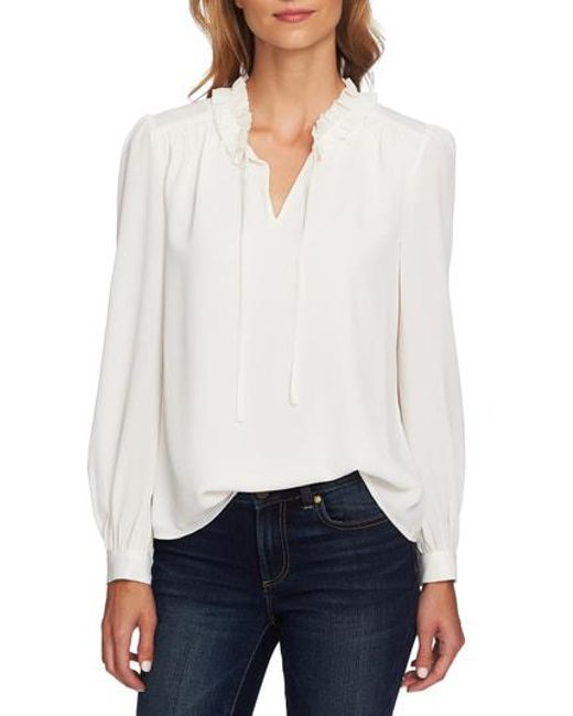 36bb528826 Lyst - Cece Ruffle Split Tie Neck Blouse in White