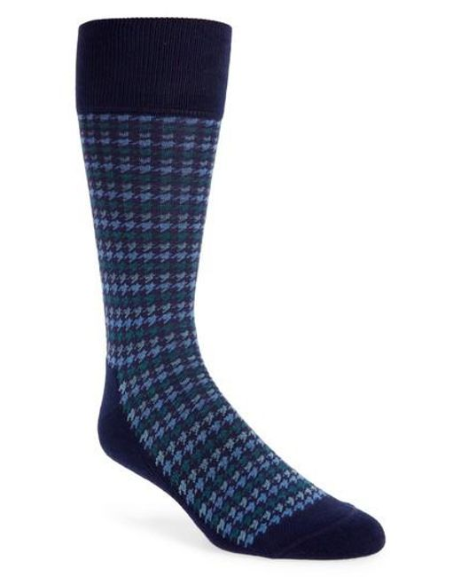 Nordstrom - Blue Houndstooth Stripe Socks for Men - Lyst