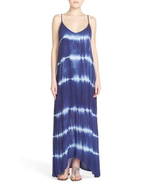 Fraiche By J | Blue Border Print Crepe A-line Maxi Dress | Lyst
