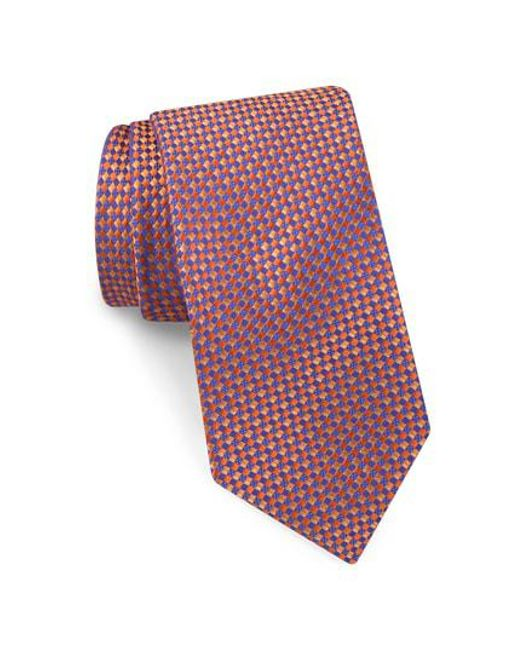Ted Baker - Orange Parquet Square Silk Tie for Men - Lyst