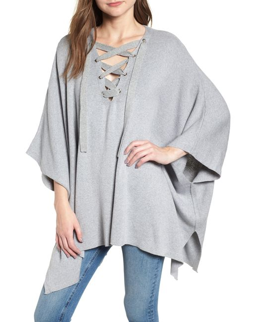 BISHOP AND YOUNG - Gray Bishop + Young Harper Lace-up Poncho - Lyst