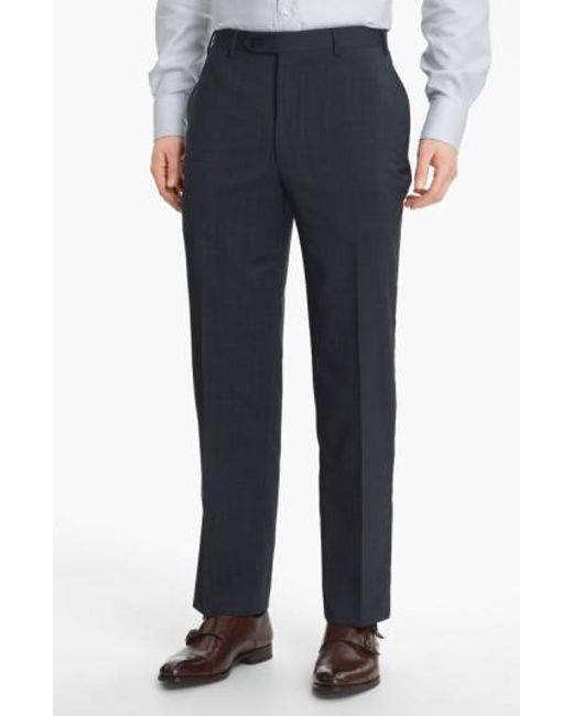 Canali - Blue Flat Front Wool Trousers for Men - Lyst