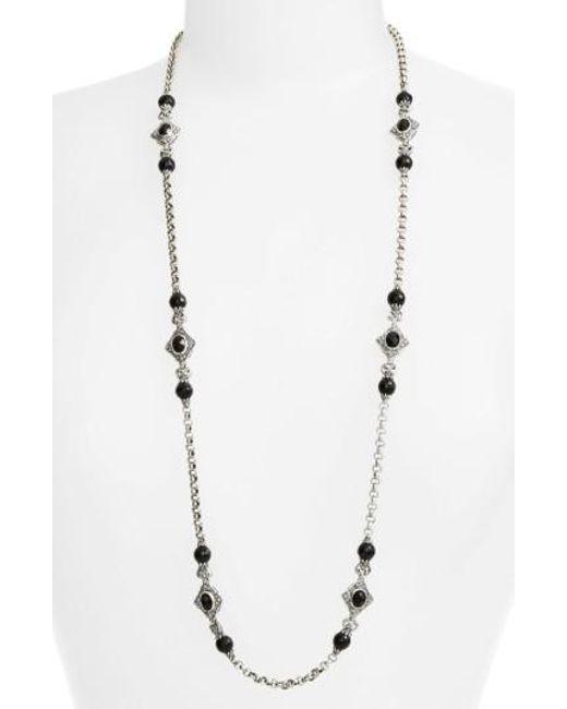 Konstantino | Metallic 'nykta' Long Onyx Station Necklace | Lyst