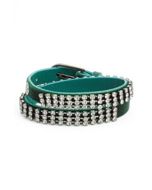 Tory Burch | Green Crystal Wrap Bracelet | Lyst