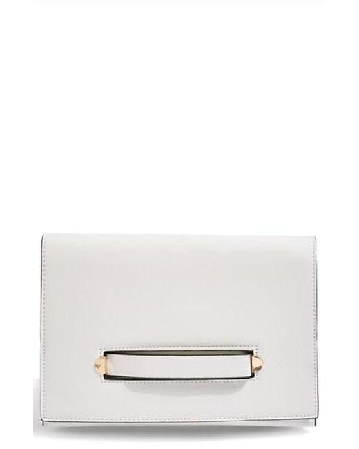 TOPSHOP - White Brogan Tab Chain Clutch Bag - Lyst