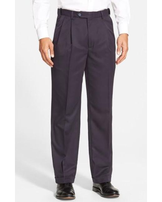 Berle | Blue Self Sizer Waist Pleated Trousers for Men | Lyst