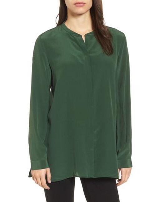 Eileen Fisher | Blue Silk Shirt | Lyst