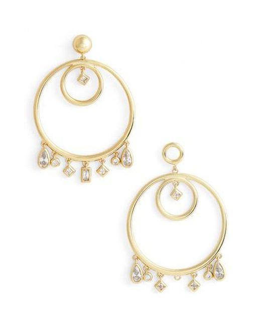 Luv Aj | Metallic Hanging Jewel Frontal Hoop Earrings | Lyst