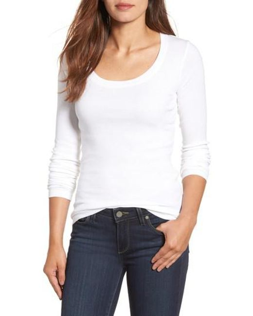Caslon - White Caslon 'melody' Long Sleeve Scoop Neck Tee - Lyst