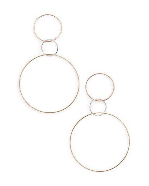 Lana Jewelry - Metallic Tri-tone Three Hoop Wire Drop Earrings - Lyst