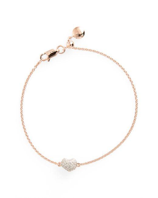 Monica Vinader - Metallic Nura Mini Heart Diamond Bracelet - Lyst