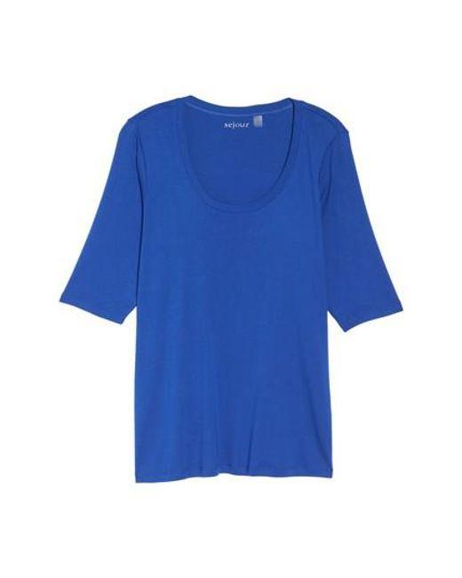 Sejour | Blue Elbow Sleeve Scoop Neck Tee | Lyst