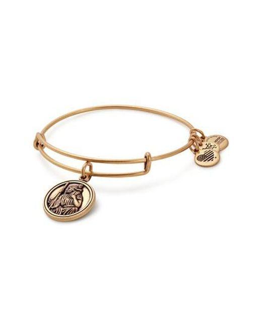 ALEX AND ANI | Metallic Saint Christopher Charm Bangle Bracelet | Lyst