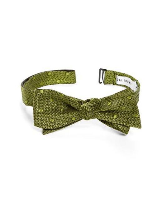 Calibrate | Green Textured Dot Silk Bow Tie for Men | Lyst