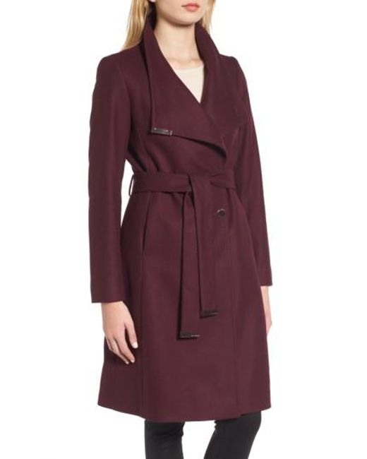 Ted Baker | Purple Wool Blend Long Wrap Coat | Lyst