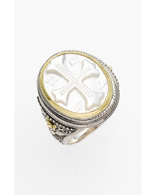 Konstantino | Metallic 'athena' Mother Of Pearl Signet Ring | Lyst