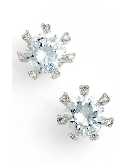 CZ by Kenneth Jay Lane | Metallic Embellished Prong Cubic Zirconia Stud Earrings | Lyst