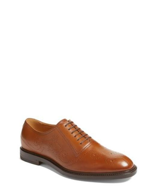 Gucci | Brown Medallion Toe Oxford for Men | Lyst