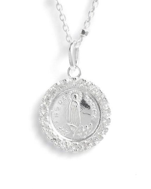 Lyst argento vivo pave framed mother mary pendant necklace in metallic argento vivo metallic pave framed mother mary pendant necklace lyst aloadofball Choice Image