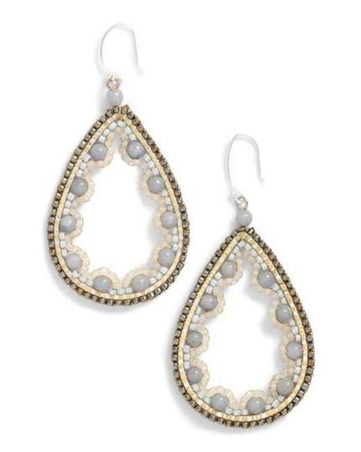 Nakamol | White Beaded Agate Teardrop Earrings | Lyst