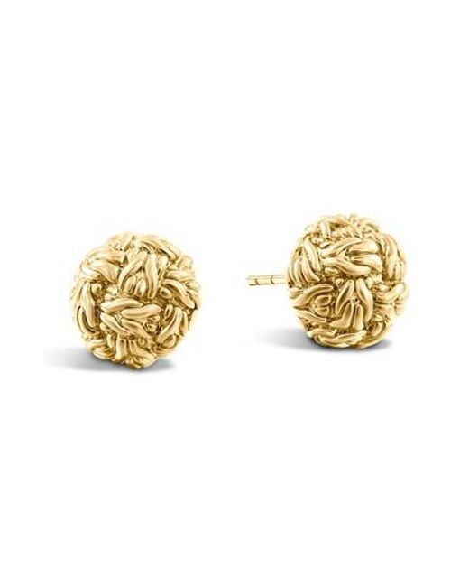John Hardy - Metallic Classic Chain 18k Yellow Gold Stud Earrings - Lyst