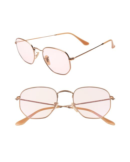 02776ff73f261 Ray-Ban - Pink 54mm Evolve Photochromic Hexagon Sunglasses - Lyst ...