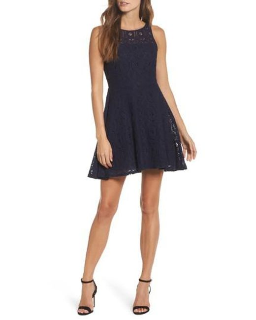 BB Dakota - Black Renley Lace Fit-and-Flare Dress - Lyst