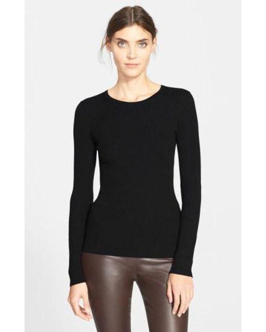 Theory - Black 'mirzi' Rib Knit Merino Wool Sweater - Lyst