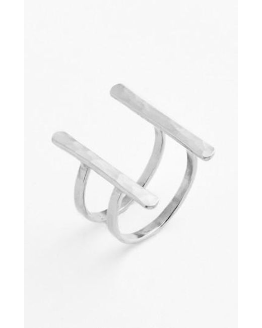 Nashelle   Metallic Ija Double Bar Open Ring   Lyst