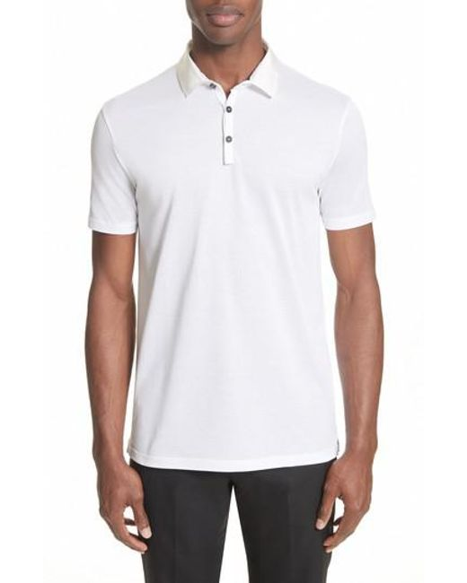 Lanvin | White Grosgrain Collar Polo for Men | Lyst