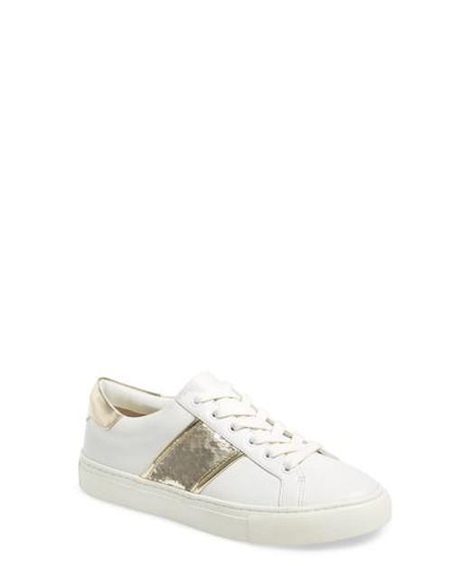 Tory Burch - White Carter Sequined Sneaker - Lyst