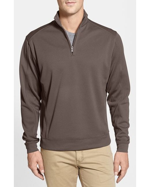 Cutter & Buck | Brown Drytec Half Zip Pullover for Men | Lyst