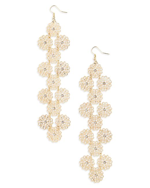 Natasha Couture - Metallic Filigree Crystal Drop Earrings - Lyst