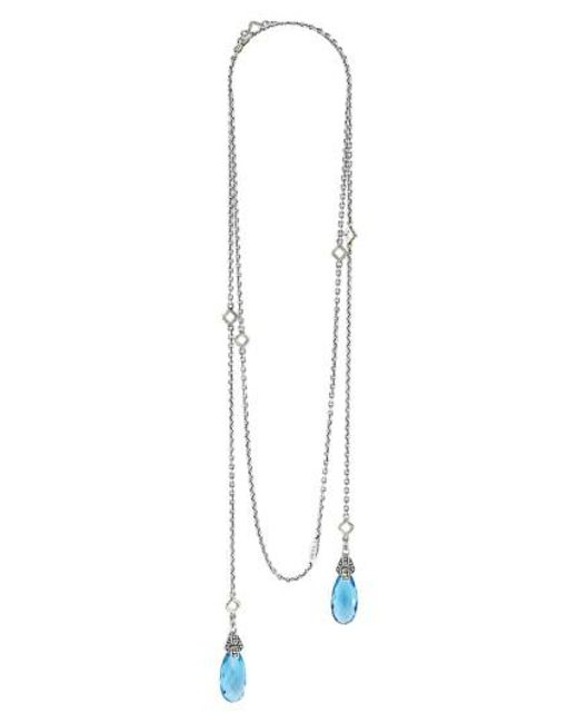 Lagos | Blue 'caviar Color' Semiprecious Stone Lariat Necklace | Lyst