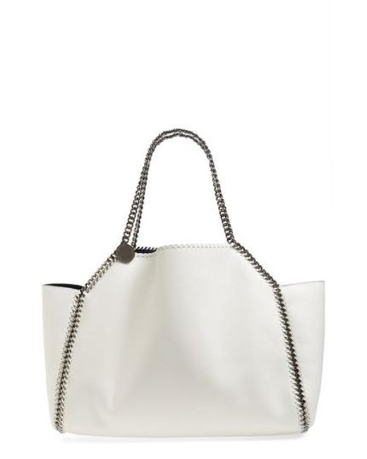 Reversible Shaggy Deer Falabella Tote Bag in Chalk Eco Leather Stella McCartney eyJXQ5v