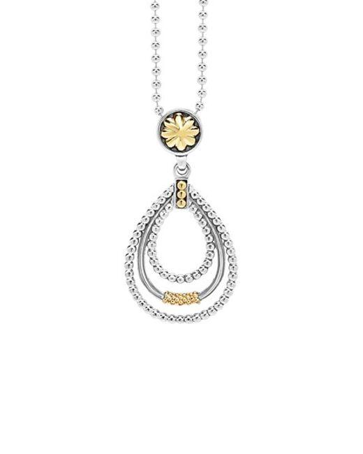 Lagos | Metallic Caviar 'superfine' Two-tone Pendant Necklace | Lyst