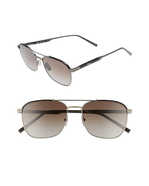 Ferragamo - Classic Logo 56mm Polarized Aviator Sunglasses - Antique Ruthenium/ Black for Men - Lyst