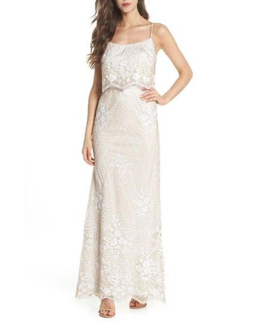 Lyst - Adrianna Papell Sequin Popover Mermaid Gown