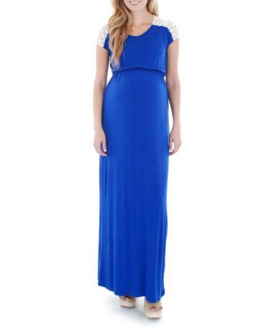 Everly Grey | Blue Lace Yoke Maxi Maternity Dress | Lyst