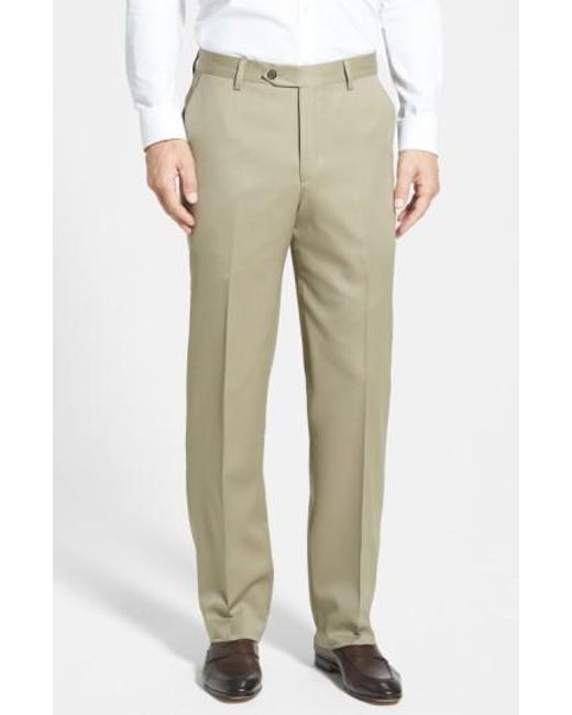 Berle | Brown Flat Front Wool Gabardine Trousers for Men | Lyst