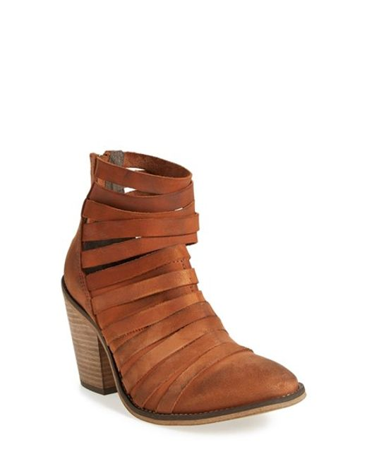 Free People | Black 'hybrid' Strappy Leather Bootie | Lyst